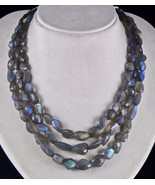 3 LINE 573 CTS NATURAL BLACK LABRADORITE FACETED TUMBLE BEADS NECKLACE - $258.40