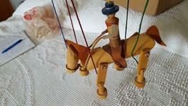 """VINTAGE UNIQUE WOODEN HORSE RIDING COWBOY MARIONETTE STRING PUPPET,9""""W,1... - $36.13"""