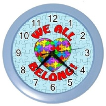 Autism Awareness We All Belong Wall Clock (Baby Blue) Gift model 35293696 - $19.99