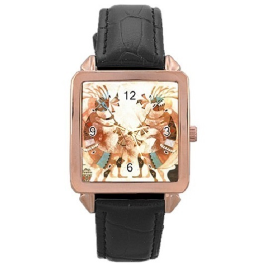 Ladies Rose Gold Leather Watch Kokopelli Dance Gift model 37761794