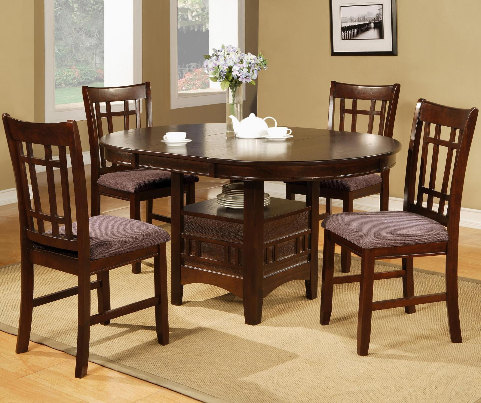 Crown Mark 2155 Empire Modern Oak Brown Finish Dining Table & Chair Set 5Pcs for sale  USA