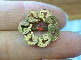 Antique Victorian Ruby RED Stone Gold Filled GF Circle Feather Brooch Pi... - $39.59