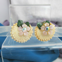 Vintage Cream Natural SeaShell Cross Section Earrings Rhinestone Pink Ce... - $13.49