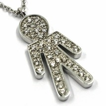 18K WHITE GOLD NECKLACE, BABY, CHILD, BOY, SON PENDANT WITH DIAMONDS ROLO CHAIN image 2