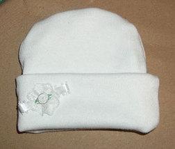 Preemie & Newborn Baby White Rose & Lace Hat - $10.00