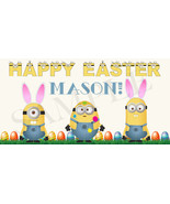 Minion Easter Basket Sticker, Waterproof and Personalized - $3.25+