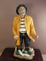 OLD MAN of the SEA  Fisherman Figurine Nautical Decor Very Good Resin - $12.85