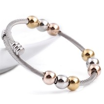 Wire Line Colorful Beads Cross Stainless Steel Cable Stretch Bracelet Bangles Fo - $25.99