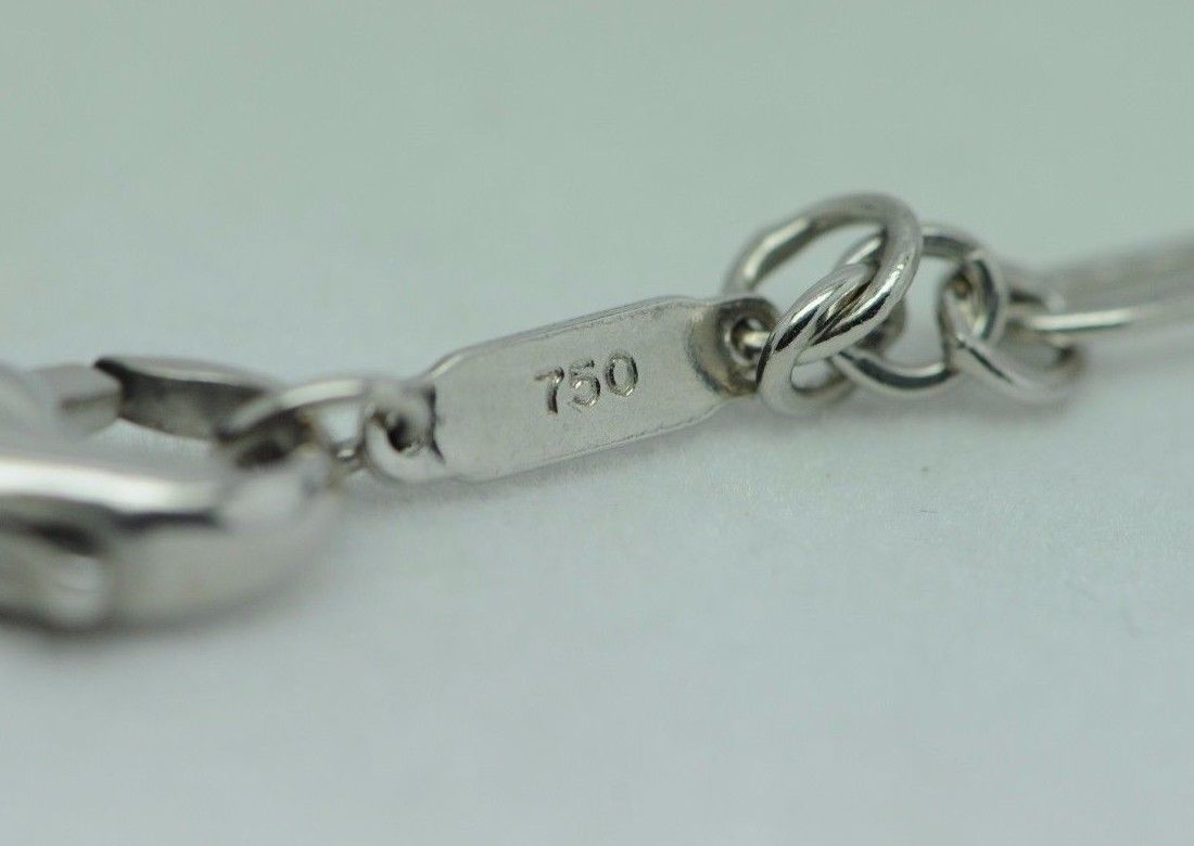 """TIFFANY & CO. 18K White Gold LARGE Heart Link Necklace (18"""")"""