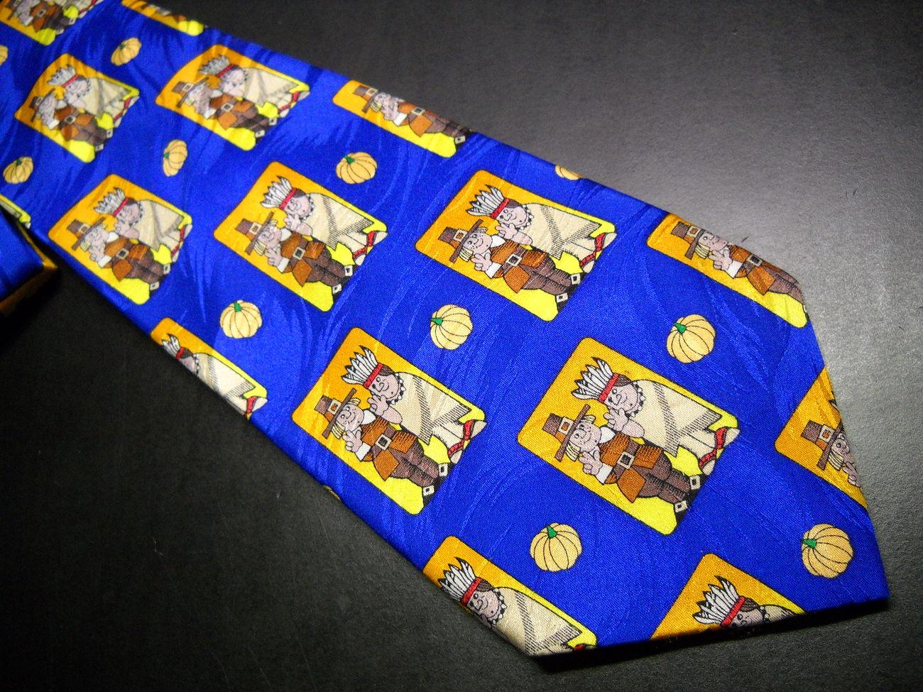 Tie keith daniels thanksgivings theme blue 02