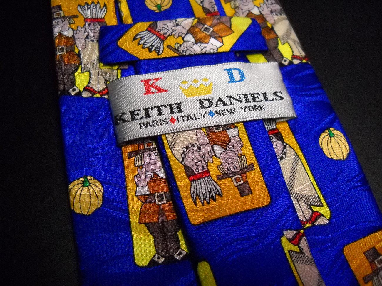 Keith Daniels Dress Neck Tie Thanksgiving Meeting between Pilgrims and Indians