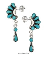 Sterling Silver Multi Stone Simulated Turquoise Crescent Earrings With D... - $103.99