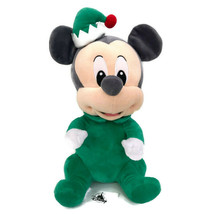 "Disney Babies Mickey Mouse Holiday Christmas Plush Green Elf 12"" Stuffed... - $28.10"