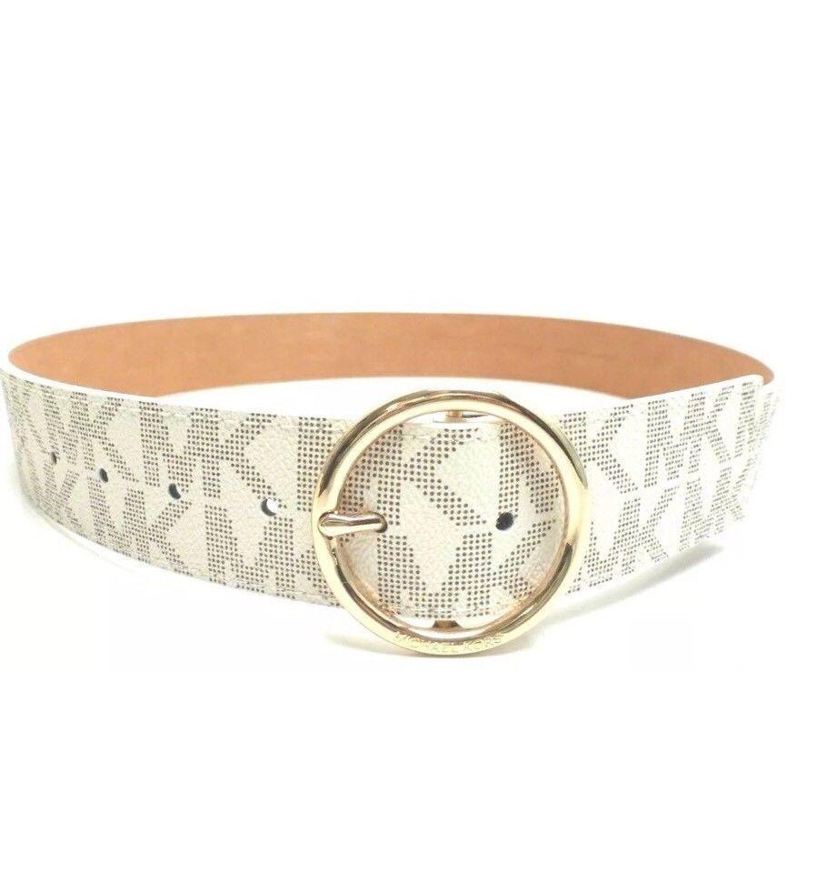 ee6da24eccfb8 Michael Kors Vanilla Gold buckle Logo Belt and 50 similar items. S l1600
