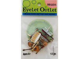 Eyelet Outlet Musical Instruments Brads, 12 Count