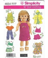 "Simplicity Pattern 4654 18"" Doll Clothing Wardrobe Summer - $7.99"