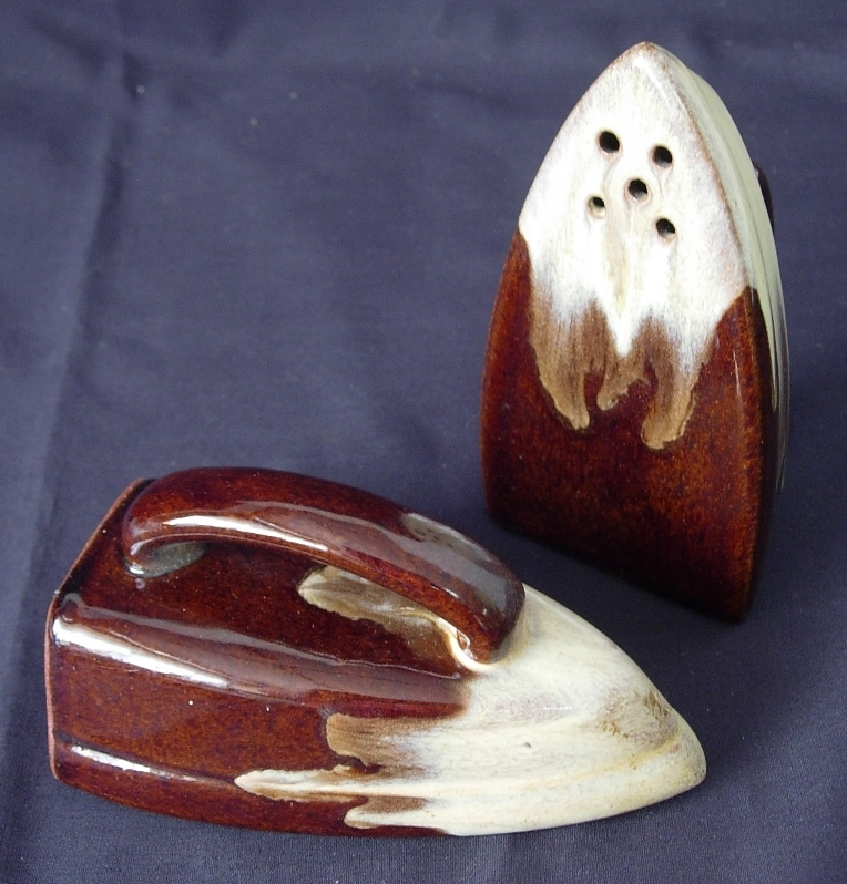 Brown Drip IRON Salt and Pepper Shakers - Marked JAPAN
