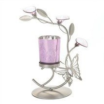 Purple Floral Butterfly Candle Holder - $11.01