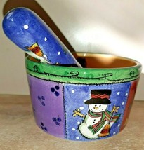 Sango 2 Pc Dip/Mix Set Bowl Spreader Sweet Shop Christmas Sue Zipkin - $15.88