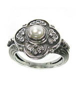Gerochristo 2759 -Sterling Silver & Pearl - Medieval-Byzantine Ring   /... - $120.00