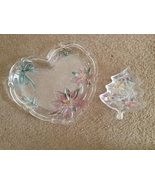 Savoir Vivre (Mikasa) Holiday Spirit Tree Nut Dish & Heart Poinsettia Pl... - $35.00