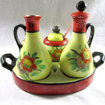 Japan Condiment Set 8 pieces Vintage Tray Oil Vinegar Cruet Mustard Salt... - $42.48