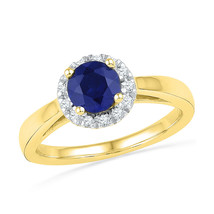 10kt Yellow Gold Round Lab-Created Blue Sapphire Solitaire Ring 1-1/8 Ctw - $251.19