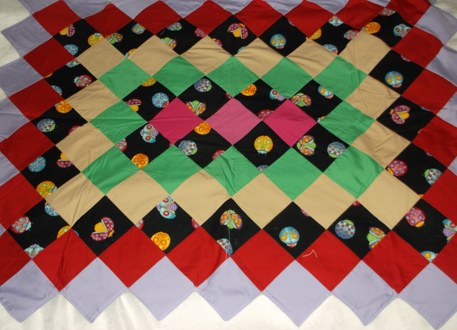 handcrafted quilt Ladybug primary color 41 x 32 lap baby toddler wheelchair