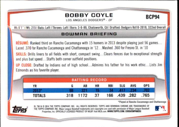 Bobby Coyle 2014 Bowman Chrome Prospect Card #BCP94