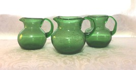 "3 Small Emerald Green Blown Glass Pitcher-3 1/2"" 1 with bubbles art glas... - $11.87"