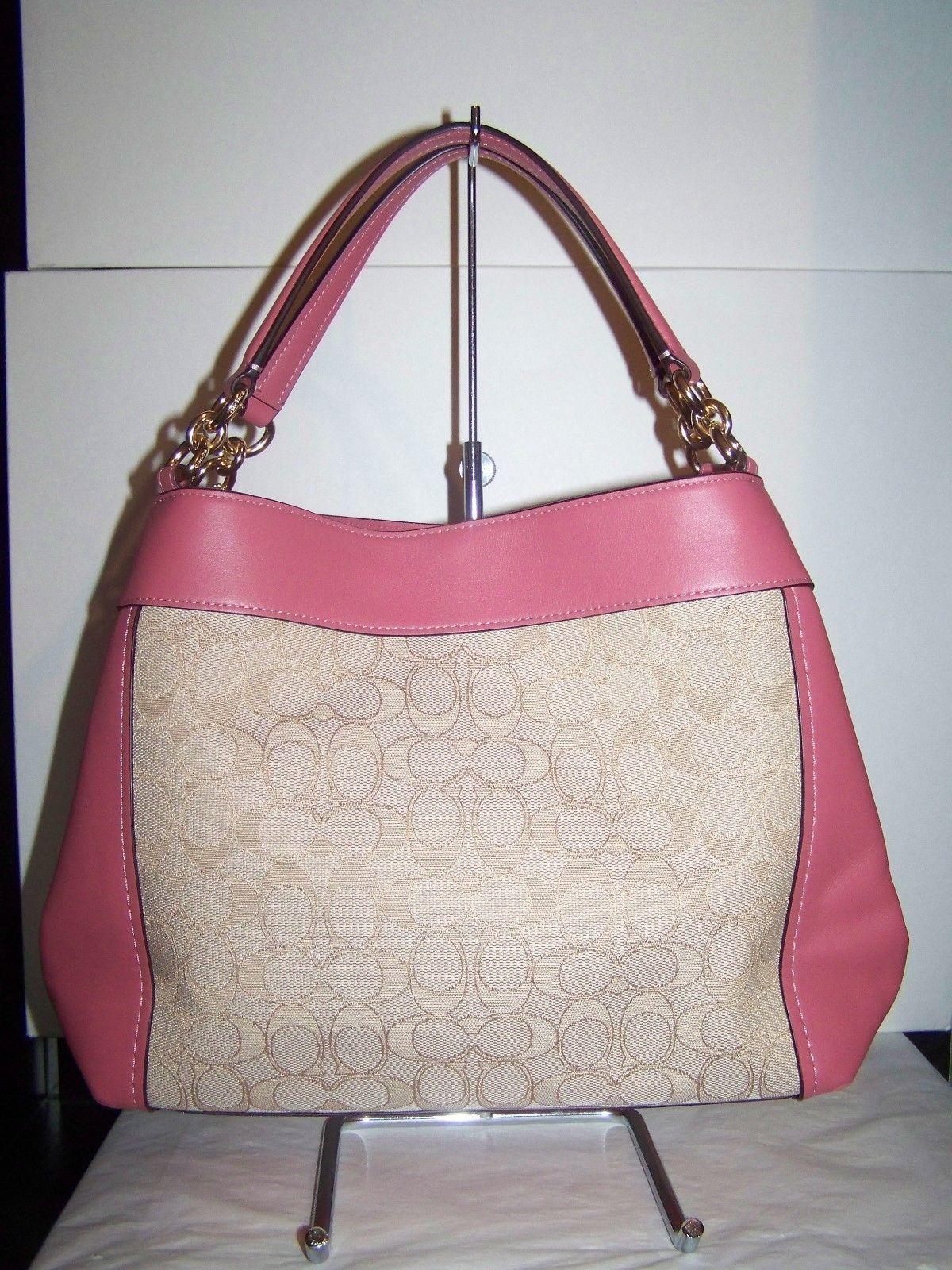 47ab4cd9b7b4 ... Coach Canvas Leather Sm Lexy Tote Shoulder Bag F29548 Lt Khaki Peony   325 NWT ...