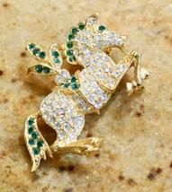 NAPIER RHINESTONE CAROUSEL SHOW RING FANCY CIRCUS HORSE GOLD TONE BROOCH... - $29.99
