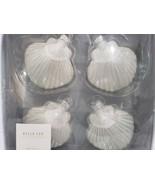 Bella Lux Coastal Collection White Sea Shells Mercury Glass Ornaments set 4 - $27.99