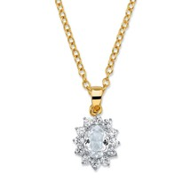 "Palm Beach .57 Tcw Crystal Swarovski Elements And Cz 14k Gold-Plated Necklace 18"" - $19.99"