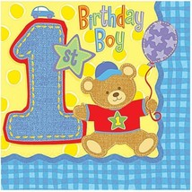 1st Birthday Hugs and Stitches Boys Lunch Dinner Napkins 16 Per Package NEW - $2.92
