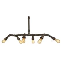 Industrial Iron Six Light, Edison E-26 Type Bulbs, American Country Lighting - $275.00