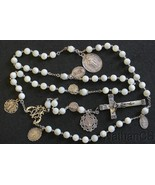 Vintage MOP & Sterling Highly Exceptional Catholic Rosary 8 Rare Antique... - $678.15