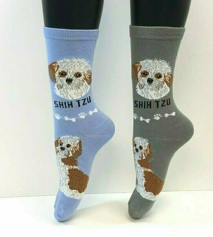 Primary image for 2 PAIRS Foozys Women's Socks SHIH TZU, Canine Collection, Dog Print, NEW