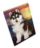 Siberian Husky Dog Art Portrait Print Woven Throw Sherpa Plush Fleece Bl... - $137.61