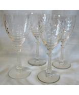 Libbey Rock Sharpe 1013 Arvida Water Goblet Stem Set of 4 - $80.08