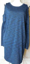 Express Long Blue Soft Cold Shoulder Top Size S  Pre-owned - $16.29