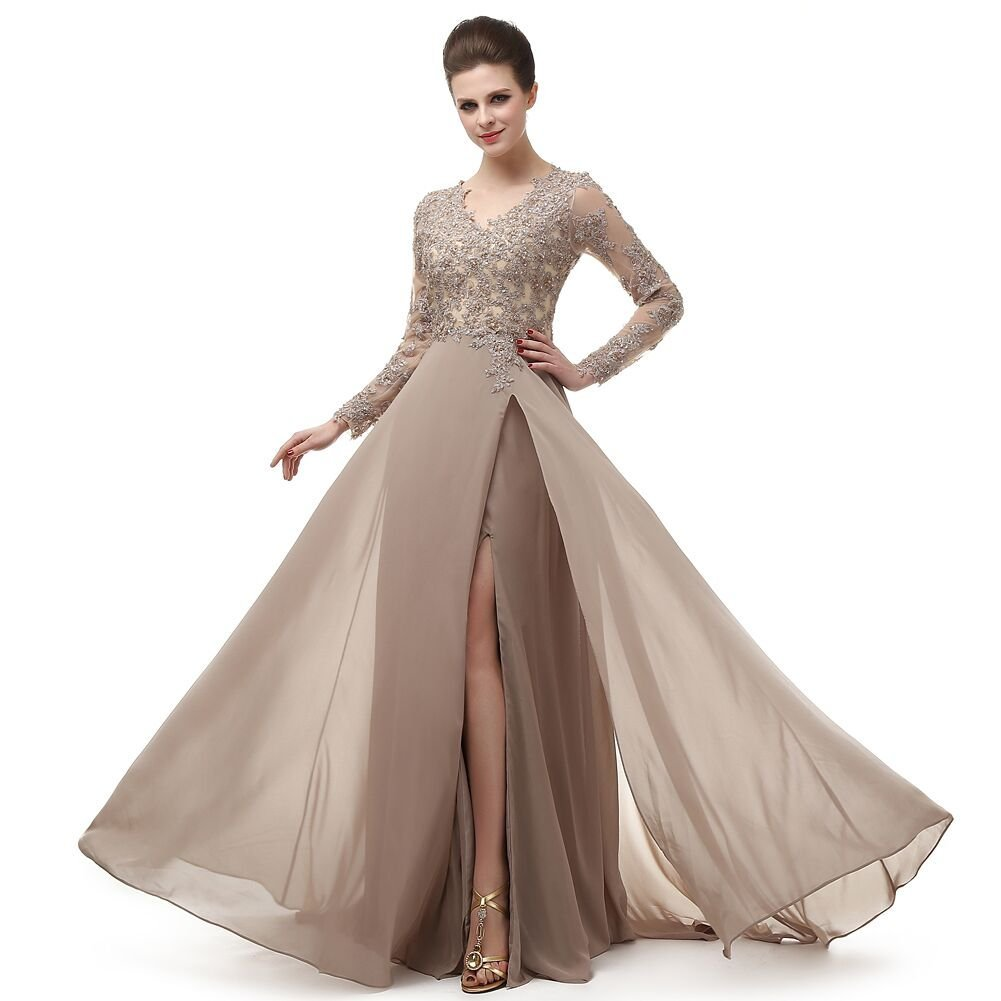 Primary image for  V Neck Lace Applique Prom Dress Beading Chiffon Long Sleeves Party Evening Gown