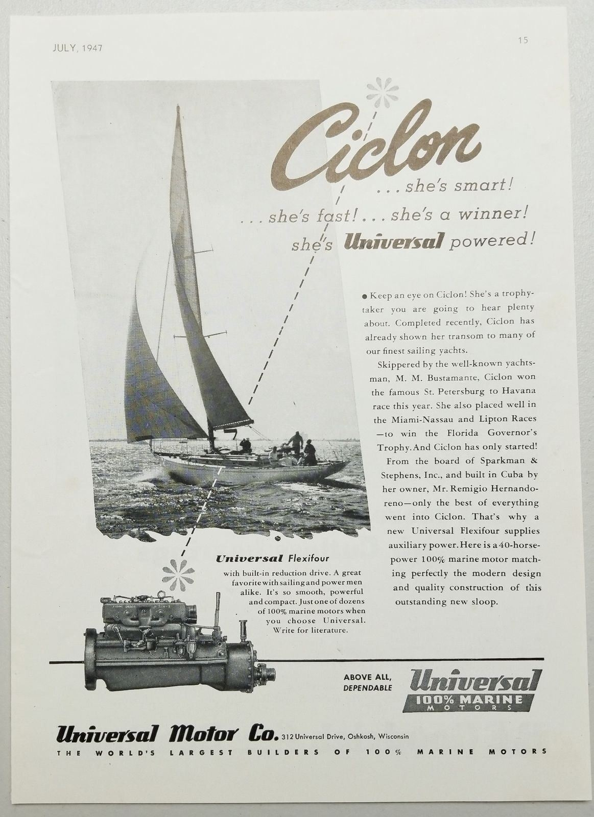 Primary image for 1947 Print Ad Universal Flexifour Marine Motors Sparkman & Stephens Sailboat
