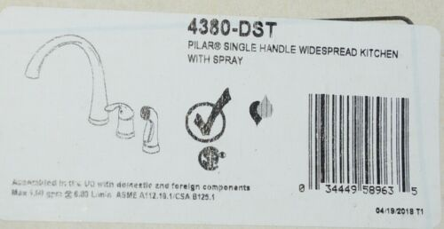 Delta Pilar Single Handle Widespread Kitchen Faucet Sidespray 4380DST