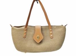 Eric Javits New York Natural Straw & Leather Shoulder Bag Purse image 1