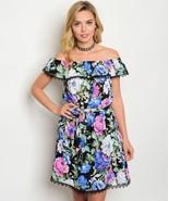 New Black Floral Off Shoulder Dress S,M,L - $28.00