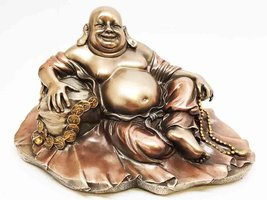 Lucky Happy Buddha Resting on Fortune Coins Wealth Bodhisattva Sculpture Statue - $49.99