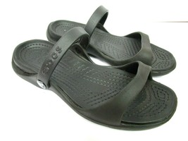 Crocs Womens 8 Cleo Sandals Shoes Black Rubber Two Strap Slip On Outdoor... - $26.40