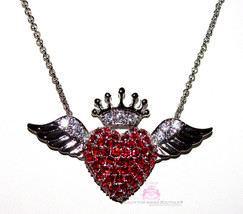 Ruby Red Cz Cubic Zirconia Love Heart Glam Angel Wing Angelic Crown Ch Necklace - $56.00