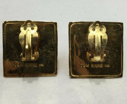 Large Gold Tone Pyramid TOM BINNS Statement 80s Style Earrings Clip On image 2